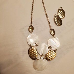 #391 Avon Mother of Pearl Necklace/Earring Set